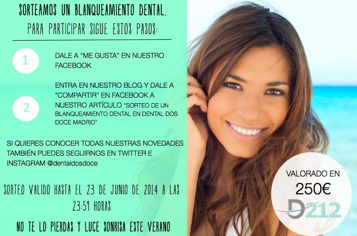 Sorteo de un blanqueamiento dental en Dental Dos Doce Madrid